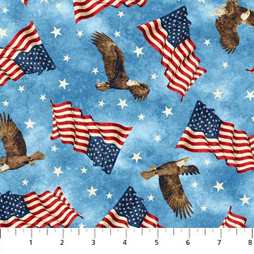 Flags, Eagles, and Stars on Pale Blue field