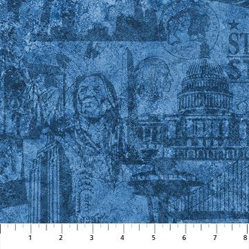 Patriotic Collage on Blue Fabric