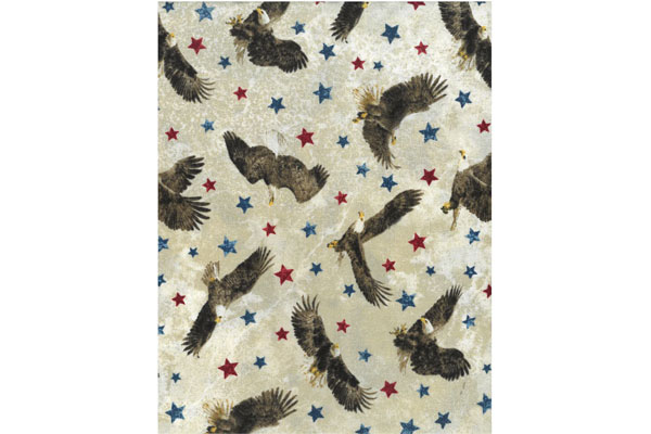 Cream Fabric with Eagles & Stars - 1 yard