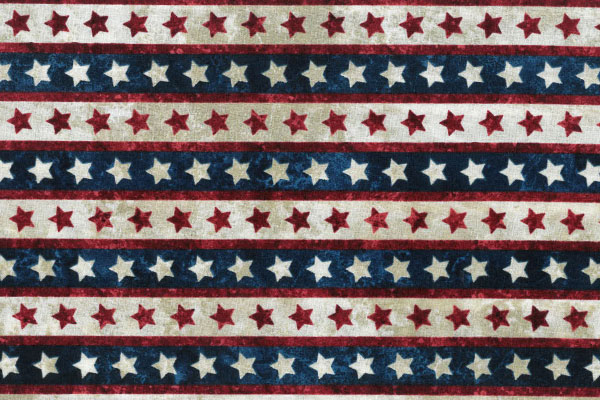 Red & White Stars on Blue, Red, & Cream striped Fabric - 1 Yard