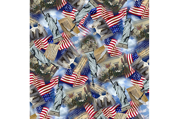 Packed USA Monuments Fabric